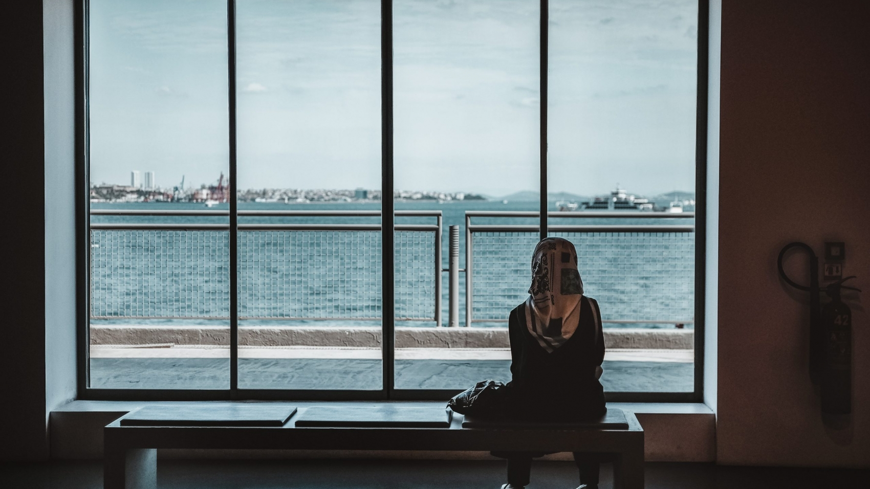 A woman sits with her back to us, staring through a window at the sea. She is alone in grief.