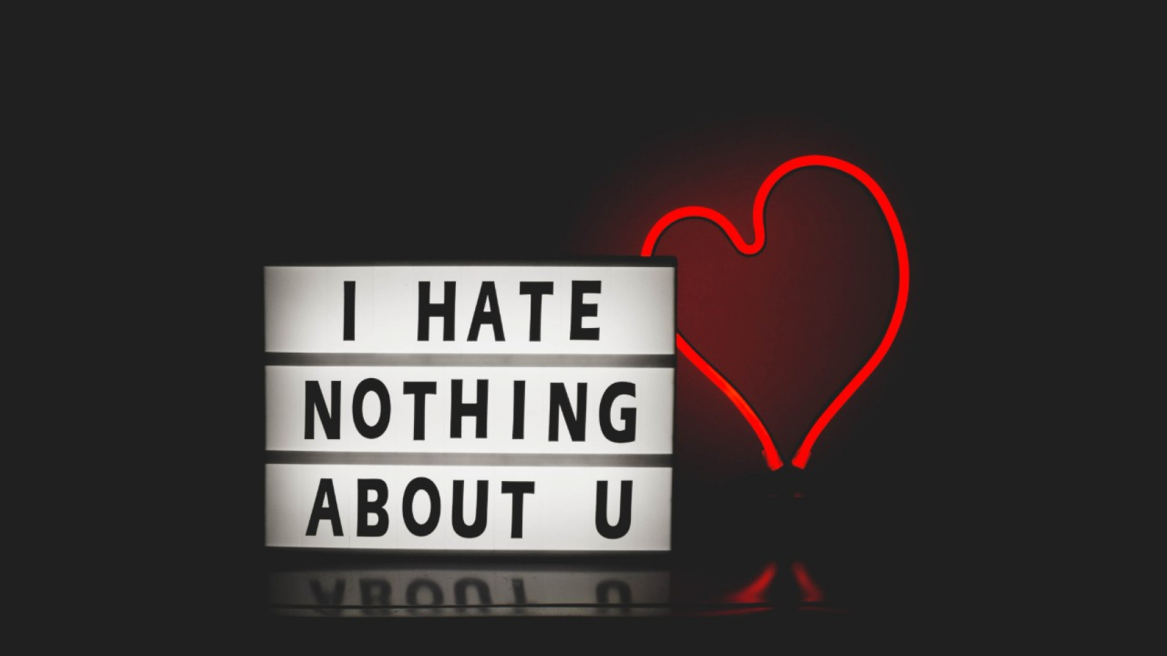 """Sign saying """"I hate nothing about you."""""""